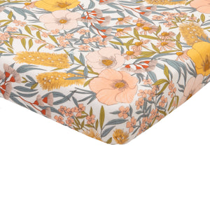 Goldie+Ace Vintage Floral Cotton Jersey Fitted Sheet Golden