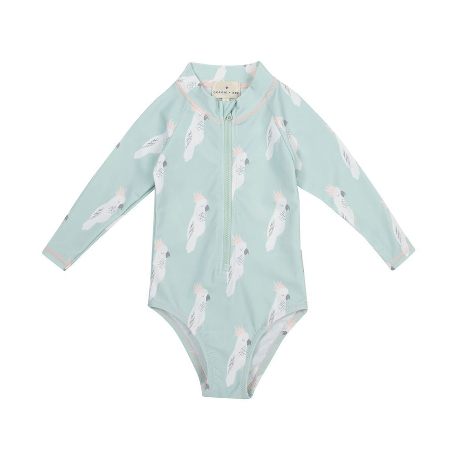 Cockatoo Party Zip Up Sunsuit Surf