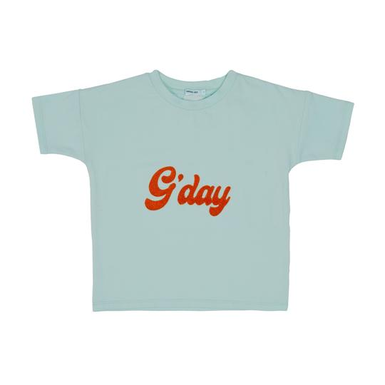 G'day Cotton Embroidered T-Shirt Blue / Tomato Red