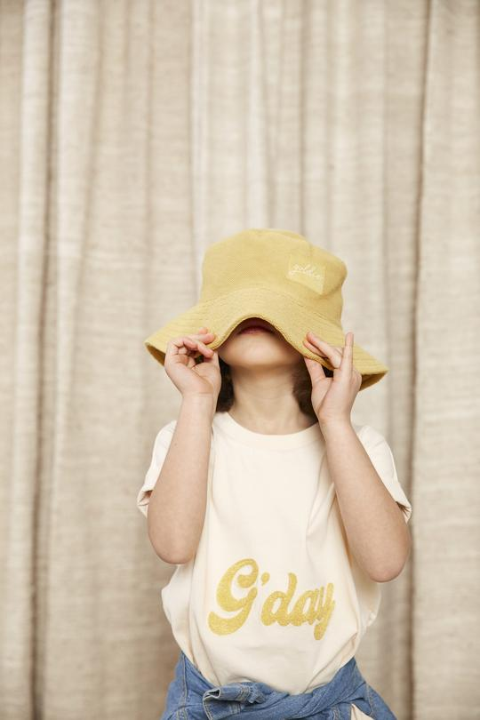 G'day Cotton Embroidered T-Shirt Cream / Yellow
