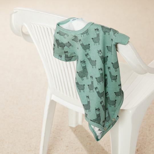 Llama Cotton Jersey Short Sleeve Bodysuit Sage Green