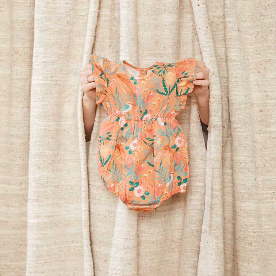 Goldie+Ace Lani Linen Romper Native Garden Peach Print