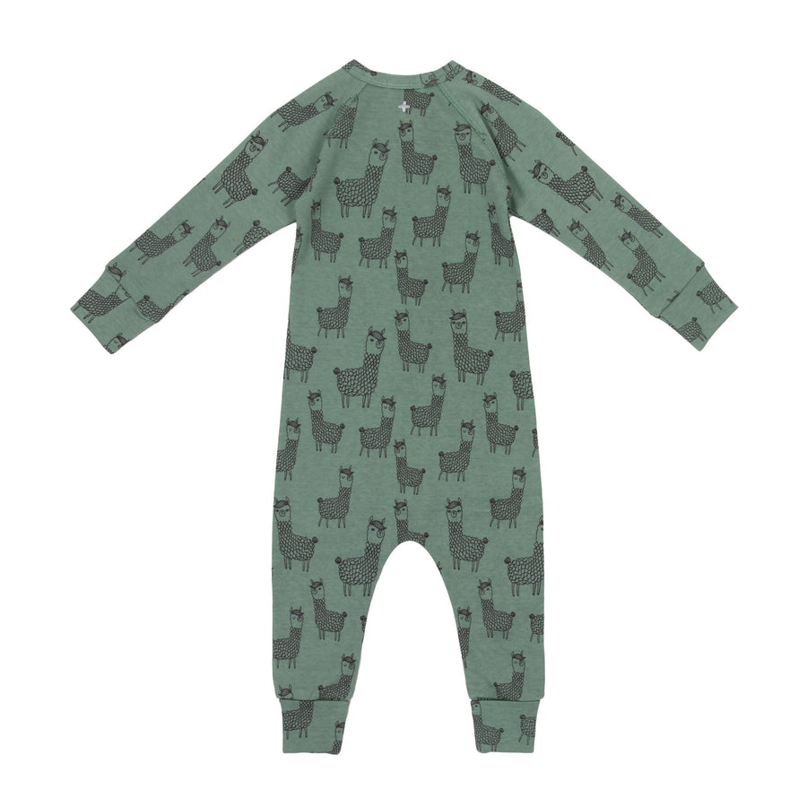 Goldie+Ace Llama Cotton Jersey Zipsuit Sage Green