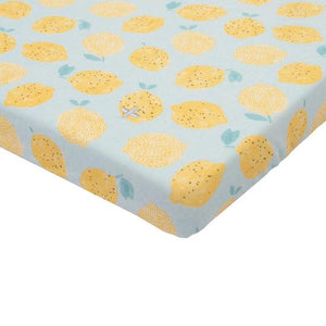 Luscious Lemons Cotton Jersey Fitted Sheet Mint