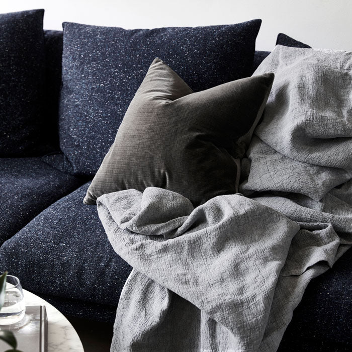 Velvet Down Cushion - Charcoal