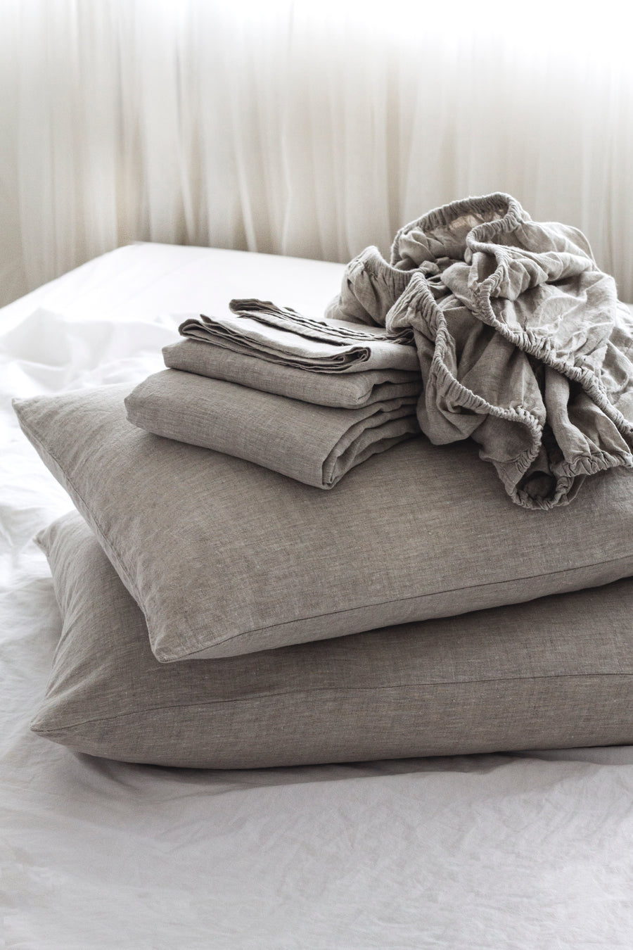 Belgian Linen washed Duvet cover set - Natural