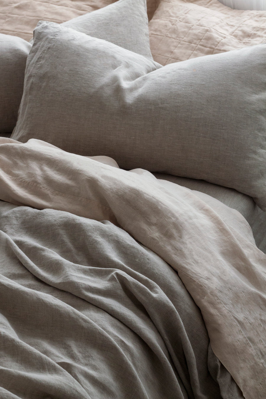 100% Linen washed Duvet cover set - Natural