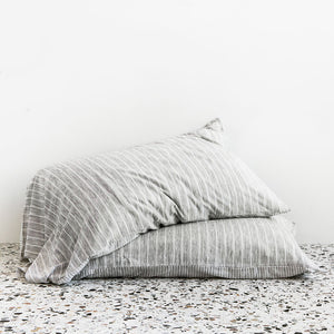 Merino Wool Jersey Duvet Cover - Grey Stripes