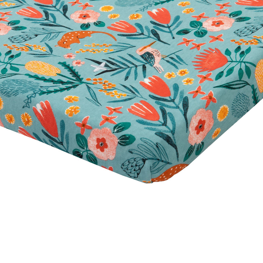 Goldie+Ace Native Garden Cotton Jersey Fitted Sheet Blue