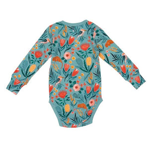 Native Garden Cotton Jersey Long Sleeve Bodysuit Blue