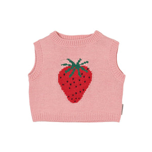 G+A Paloma Strawberry Knit Crop Vest-Pink