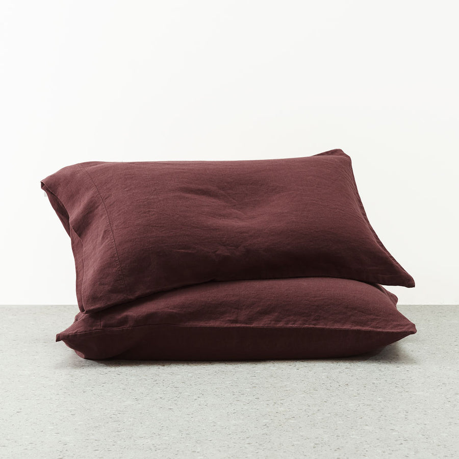 Belgian Linen washed Pillowcases - Sherry