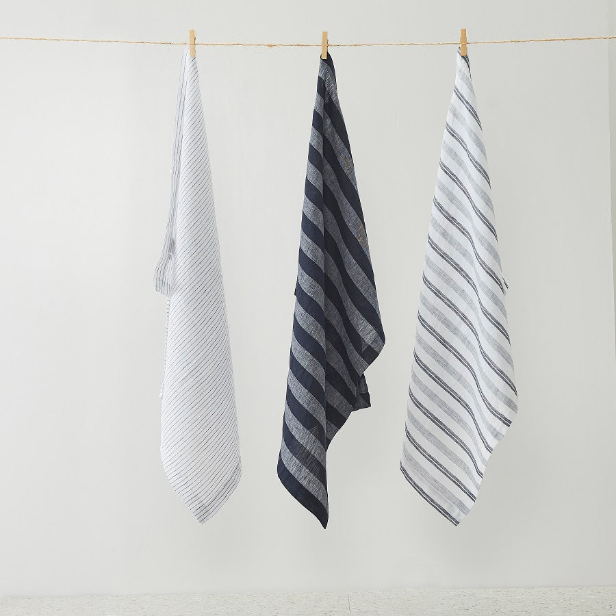 Pure Linen Stripes Tea Towel 3pcs pack
