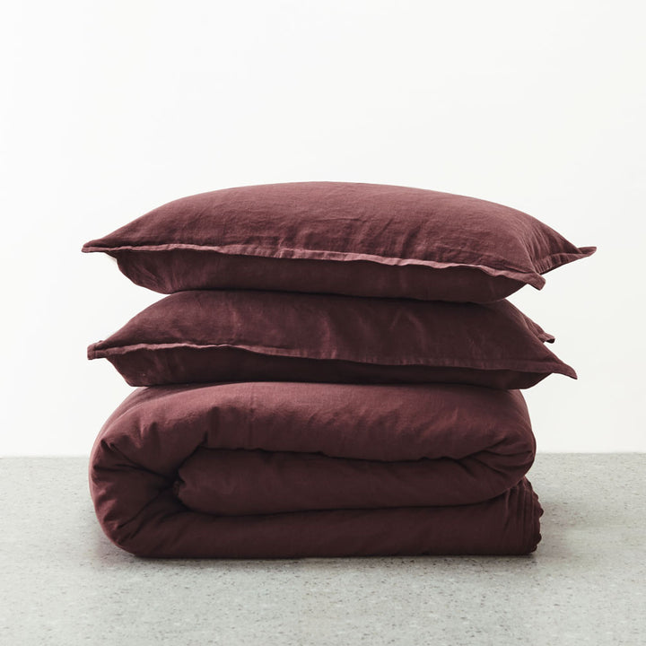 Belgian Linen washed Duvet cover set - Sherry