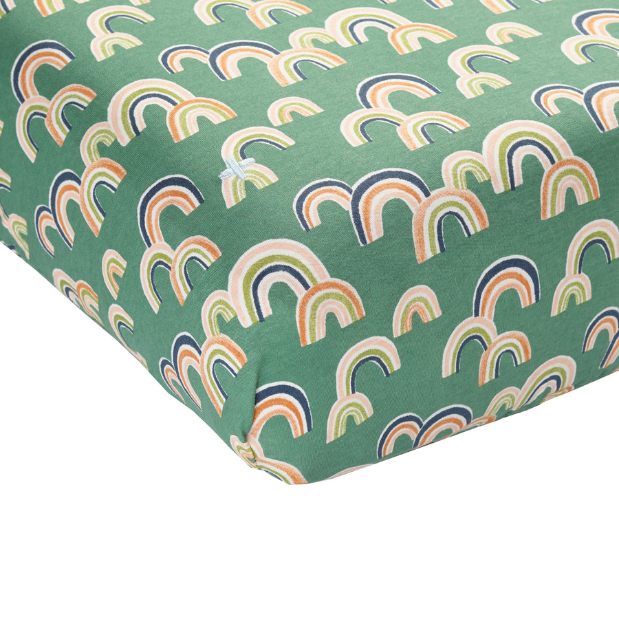 Goldie+Ace Rainbow Baby Fitted Sheet - Sea