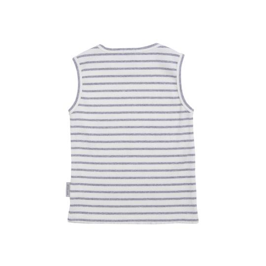 Goldie Ribbed Cotton Singlet WhiteGrey