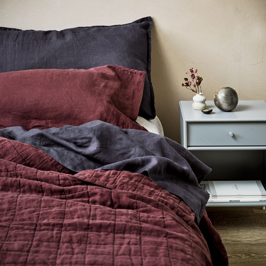 100% Linen washed Duvet cover set - Sherry