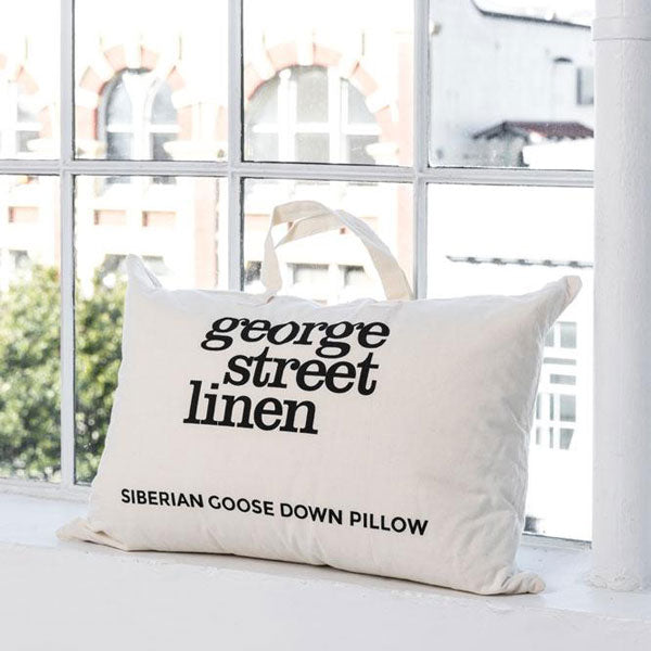 Siberian Goose Down Pillow - White cotton sateen