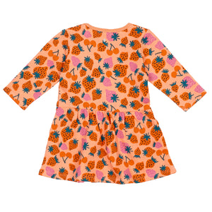 G+A Strawberry Patch Pocket Dress - Peach