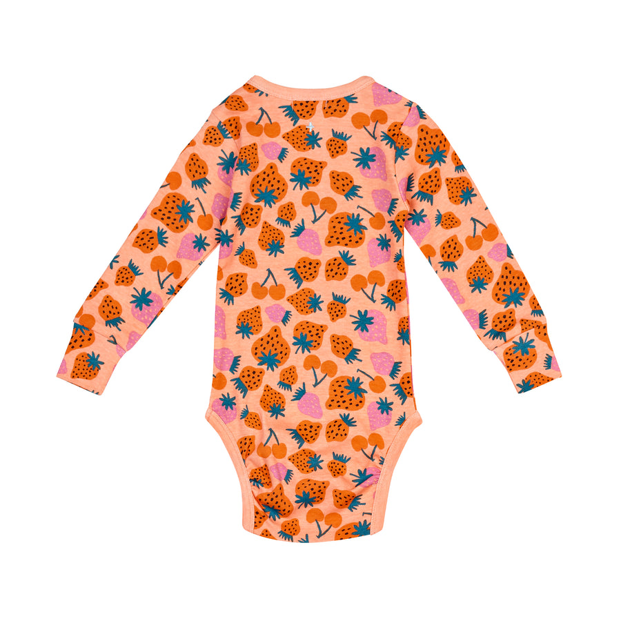 G+A Strawberry Patch Long Sleeve Bodysuit-Peach