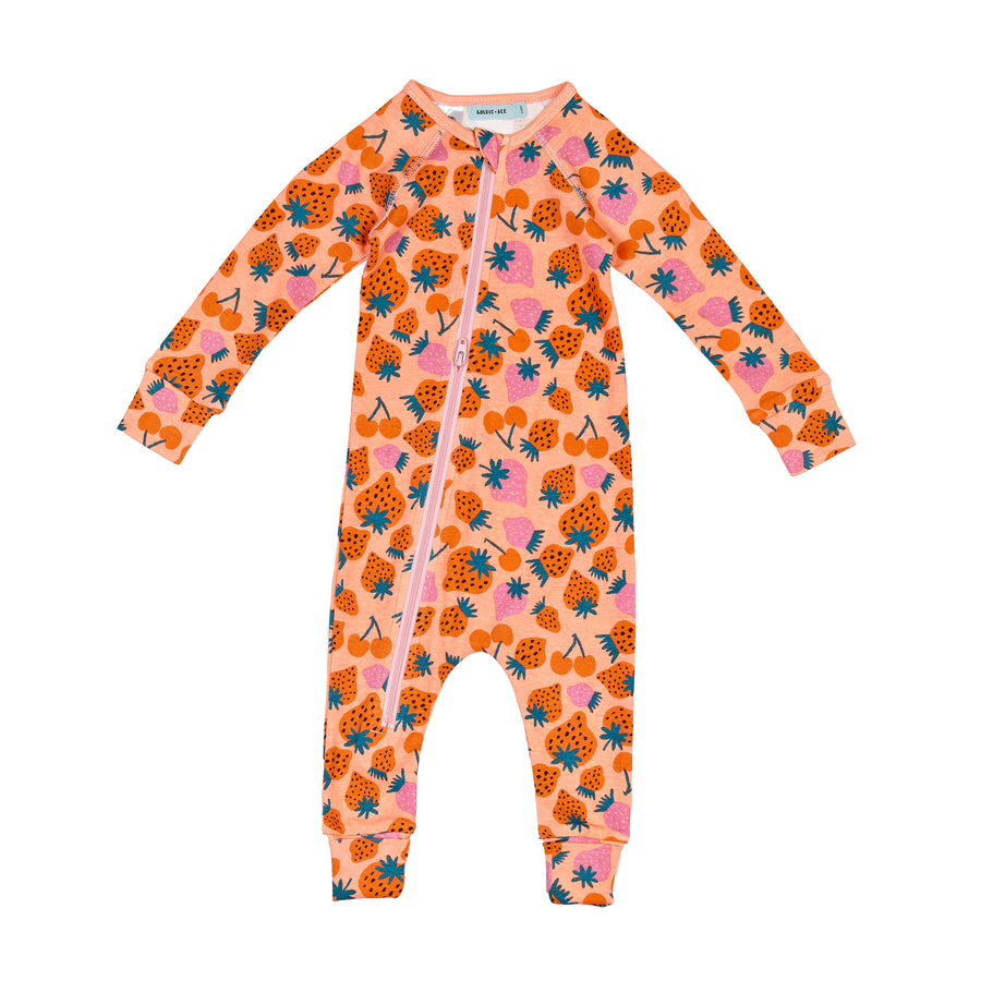 G+A Strawberry Patch Print Zipsuit - Peach