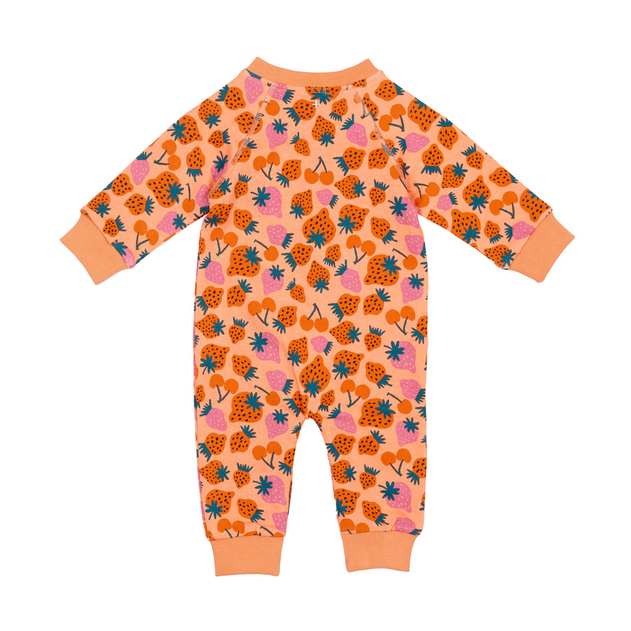 G+A Strawberry Patch Terry Print Romper-Peach