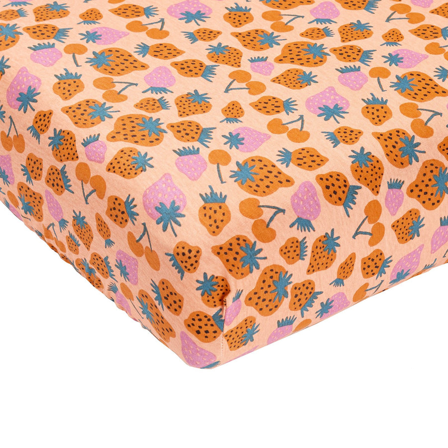 G+A Strawberry  Baby Fitted Sheet - Peach