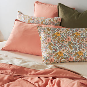 Bamboo Linen Standard Pillowcase pair - PEACH BLOOM