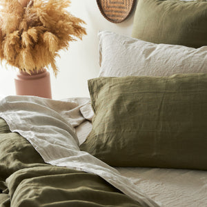 100% Linen washed Flat sheet - OLIVE