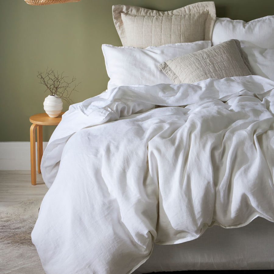 100% Linen Duvet cover set - White