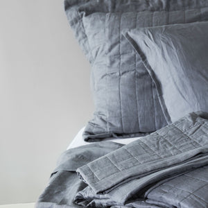 100% Linen Quilted Coverlet - CHARCOAL