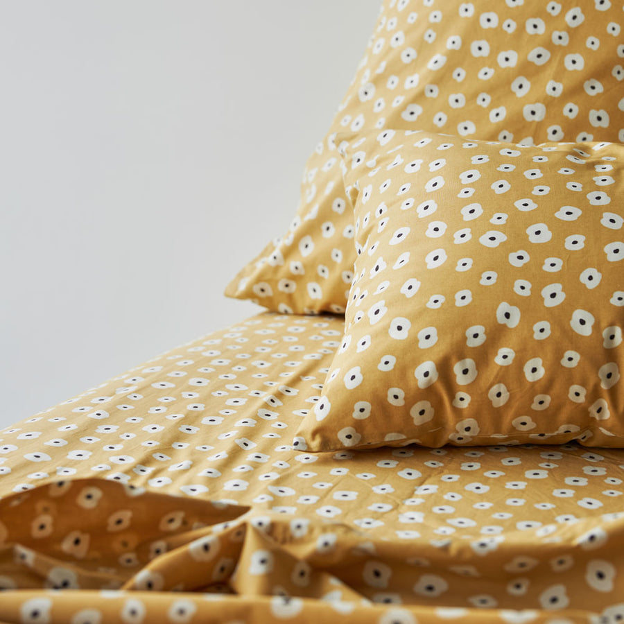 Anja printed Fitted Sheet - BISCUIT