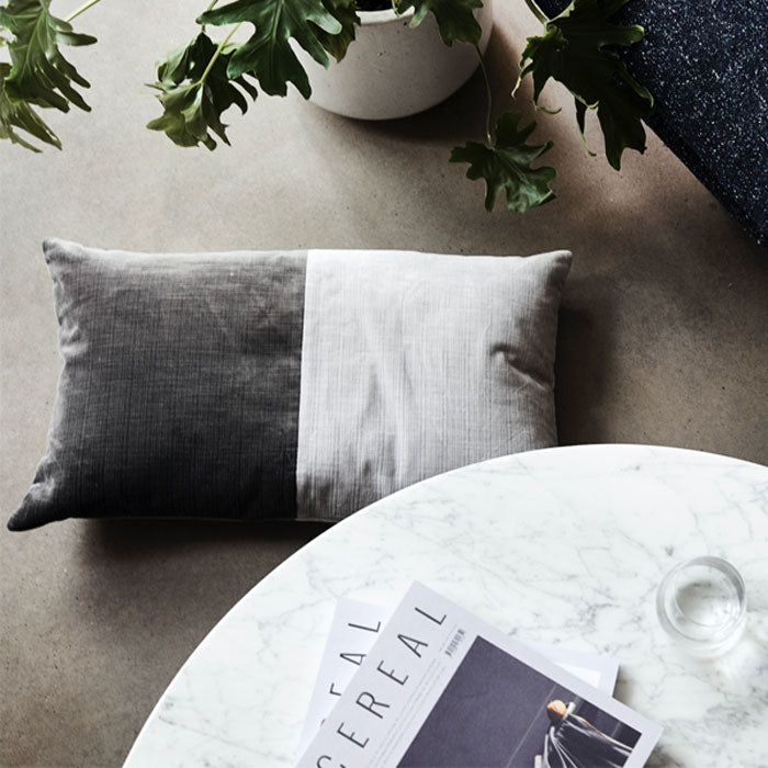 Velvet Down Cushion - Cloud/Charcoal