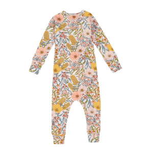 Goldie+Ace Vintage Floral Cotton Jersey Zipsuit Golden