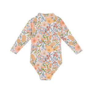 Vintage Floral Zip Up Sunsuit Golden