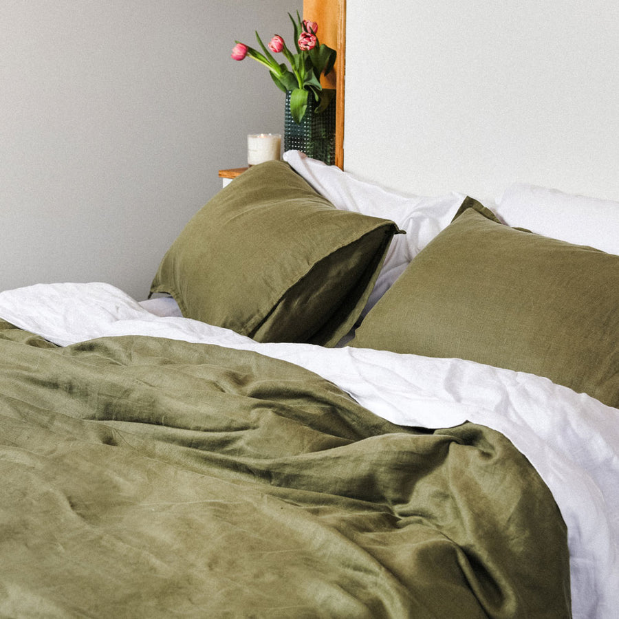 100% Linen washed Duvet cover set - OLIVE