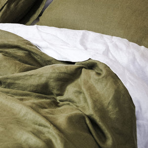 100% Linen washed Fitted sheet - OLIVE