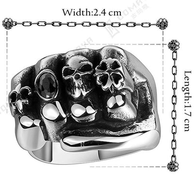 NFS Flower Skull Men Ring Fashion Men Gothic Flower Skull Stainless Steel Biker Ring Titanium Anarchy Death Fist Skull Ring