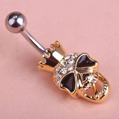Steampunk Fan Body Jewelry Steampunk Black Enamel Skull Skeleton Navel Belly Button Ring