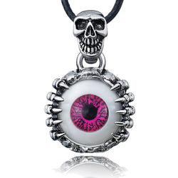 Steampunk Fan Chain Necklaces Men's  Skull Eye Titanium Stainless Steel Leather Chain Pendant Necklace