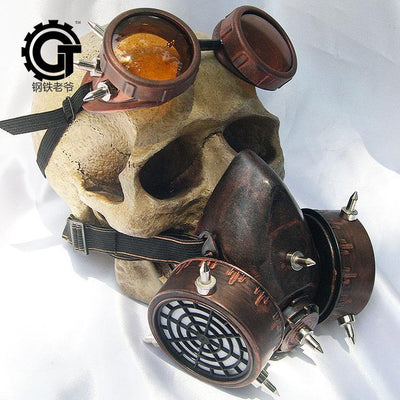Steampunk Fan Costume Accessories red brown Steampunk Unisex Glasses Gas Mask Goggles