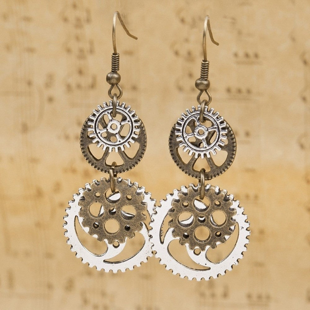 steampunk earrings bronze products drop pendant dangle antique fan gear