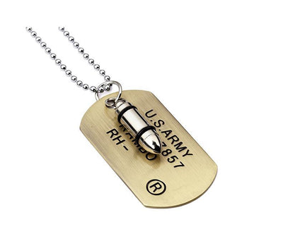 Steampunk Fan Pendant Necklaces Gold Steampunk Unisex Bullet Dog Tag Pendant Necklace