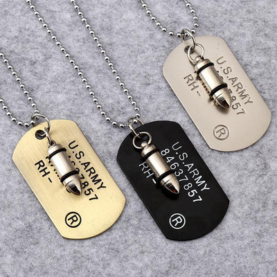 Steampunk Fan Pendant Necklaces Steampunk Unisex Bullet Dog Tag Pendant Necklace