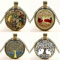 Steampunk Fan Pendant Necklaces Steampunk Vintage Tree of Life Cabochon Bronze Glass Chain Pendant