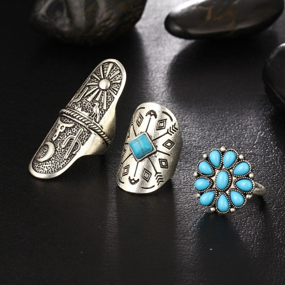 Steampunk Fan Rings 9PC Steampunk Turquoise  Ring Set