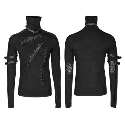 Steampunk Fan T-Shirts Black / M Steampunk Gothic Multiple Loops  Black Long Sleeve High Collar Tee Shirt Tops