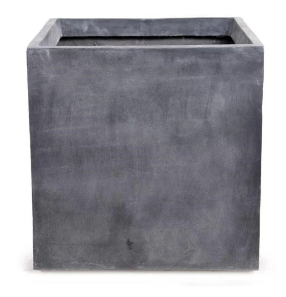 Fiberglass Cube Planter with Lead Finish 20