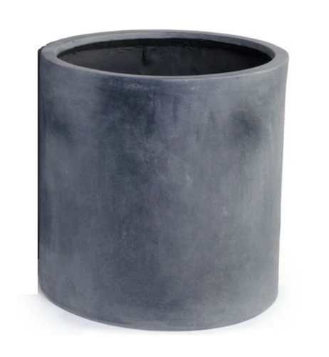 Fiberglass Cylinder Planter with Lead Finish - 20