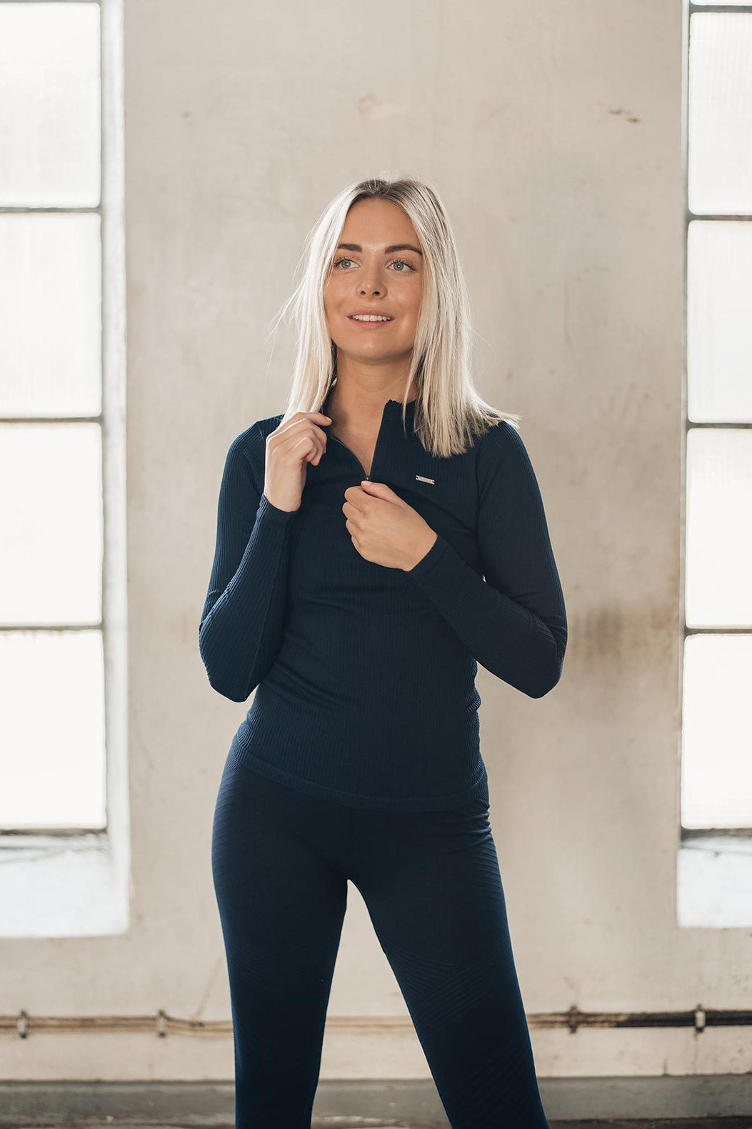 Aim'n Ribbed Zip Long Sleeve - Navy | Shop AIM'N Sportswear at GOALS